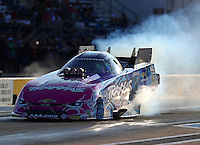 Oct 14, 2016; Ennis, TX, USA; NHRA funny car driver Courtney Force during qualifying for the Fall Nationals at Texas Motorplex. Mandatory Credit: Mark J. Rebilas-USA TODAY Sports