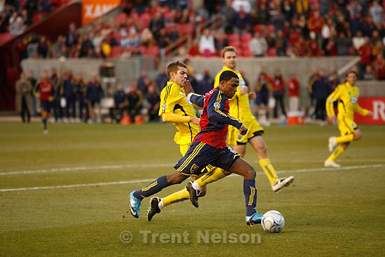 Real Salt Lake forward Robbie Findley (10). Real Salt Lake vs. Columbus Crew, MLS Soccer playoffs Saturday, October 31 2009 at Rio Tinto Stadium in Sandy.