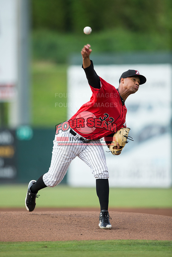 Kannapolis Intimidators starting pitcher Blake Hickman (33) delivers a pitch to the plate against the West Virginia Power at Kannapolis Intimidators Stadium on June 17, 2017 in Kannapolis, North Carolina.  The Power defeated the Intimidators 6-1.  (Brian Westerholt/Four Seam Images)