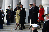 Washington, DC - January 20, 2009 -- United States President Barack Obama and his wife Michelle walks down the stairs of the U.S. Capitol with Vice-President Joe Biden and his wife Jill Biden after the inauguration of the 44th President of the United States of America Tuesday, January 20, 2009 in Washington, DC. Obama becomes the first African-American to be elected to the office of President in the history of the United States. .Credit: John Moore - Pool via CNP