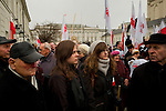 3rd anniversary of Presidential plane crash. People gather in front of presidential palace in Warsaw, Poland.
