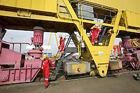 JOHANN MULLER VISITS HARLAND &amp; WOLFF BELFAST -    Wednesday 30th April 2014<br /> <br /> Jimmy Wright, Mariska Muller and Johann Muller climbing down from the top of the Samson crane during their Harland &amp; Wolff shipyard in Belfast.<br /> <br /> Mandatory Credit - Photo by John Dickson - DICKSONDIGITAL