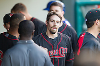Nashville Sounds center fielder Billy Burns (1) in the dugout after scoring against the Oklahoma City Dodgers at Chickasaw Bricktown Ballpark on April 15, 2015 in Oklahoma City, Oklahoma. Oklahoma City won 6-5. (William Purnell/Four Seam Images)