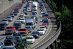 Rush hour traffic jam through downtown Seattle along Interstate 5 Seattle Washington State USA