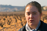 Gaelle Barrot owner of Chateau des Fines Roches in the vineyard in Chateauneuf-du-Pape, Vaucluse, Rhone, Provence, France