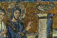 Ravenna: Mosaic--Jesus foretells that Peter will ablure him. Basilica of Nuovo Sant'Apollinare.