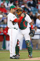 Esteban Loaiza and Miquel Ojeda of Mexico during the World Baseball Championships at Angel Stadium in Anaheim,California on March 16, 2006. Photo by Larry Goren/Four Seam Images