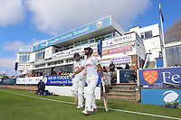 Varun Chopra (R) and Nick Browne take to the field for Essex during Essex CCC vs Durham MCCU, English MCC University Match Cricket at The Cloudfm County Ground on 2nd April 2017