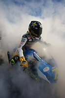 Blake Young performs a victory burnout after winning the American Superbike race at the AMA Superbike Showdown at Road Atlanta, Braselton, GA, April 2010.  (Photo by Brian Cleary/www.bcpix.com)