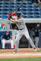 Dayton Dragons third baseman Brantley Bell (24) at bat against the West Michigan Whitecaps on April 24, 2016 at Fifth Third Ballpark in Comstock, Michigan. Dayton defeated West Michigan 4-3. (Andrew Woolley/Four Seam Images)
