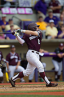 Texas A&M Aggies second baseman Ryne Birk (2) follows through on his swing during the Southeastern Conference baseball game against the LSU Tigers on April 25, 2015 at Alex Box Stadium in Baton Rouge, Louisiana. Texas A&M defeated LSU 6-2. (Andrew Woolley/Four Seam Images)