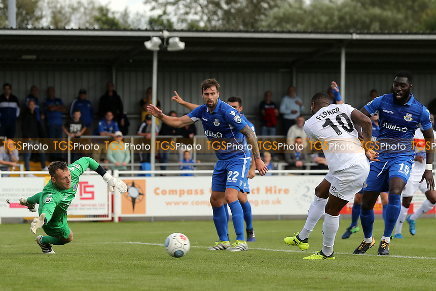 Morgan Ferrier of Dagenham sees his goal ruled out for offside during Eastleigh vs Dagenham & Redbridge, Vanarama National League Football at the Silverlake Stadium on 12th August 2017