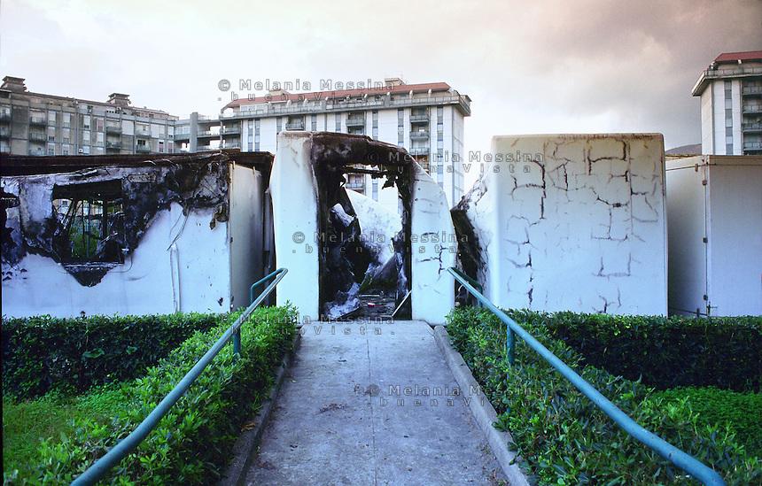 The municipal nursery school devastated by an arson attack,Zen district , Palermo.<br /> L'asilo comunale nel quartiere Zen di Palermo distrutto da un incendio di origine dolosa.