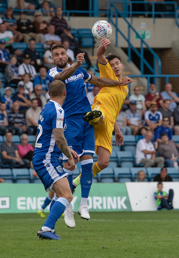 \Bolton Wanderers' Eddie Brown (right) battles for possession with Gillingham's Max Ehmer (left) <br /> <br /> Photographer David Horton/CameraSport<br /> <br /> The EFL Sky Bet League One - Gillingham v Bolton Wanderers - Saturday 31st August 2019 - Priestfield Stadium - Gillingham<br /> <br /> World Copyright © 2019 CameraSport. All rights reserved. 43 Linden Ave. Countesthorpe. Leicester. England. LE8 5PG - Tel: +44 (0) 116 277 4147 - admin@camerasport.com - www.camerasport.com