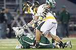 Placentia, CA 05/14/10 - Zach Handy (Foothill # 44) and Ryan Kole (MC # 5) in action during the Mira Costa vs Foothill boys lacrosse game for the 2010 Los Angeles / Orange County CIF Championship.