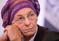 "L'esponente radicale Emma Bonino durante l'incontro promosso dai Radicali Italiani dal titolo ""Donne anche noi - Storie di fuga e riscatto"" alla sede dell'Associazione della Stampa Estera in Italia, a Roma, 7 marzo 2017. <br /> Italian Radical Party's member Emma Bonino during a meeting on refugees and former victims of human trafficking living in Italy, in Rome, 7 March 2017.<br /> UPDATE IMAGES PRESS/Riccardo De Luca"