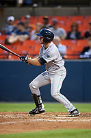 Lynchburg Hillcats right fielder Trenton Brooks (13) at bat during the second game of a doubleheader against the Frederick Keys on June 12, 2018 at Nymeo Field at Harry Grove Stadium in Frederick, Maryland.  Frederick defeated Lynchburg 8-1.  (Mike Janes/Four Seam Images)