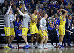 SIOUX FALLS, SD - MARCH 7: The South Dakota State Jackrabbits bench celebrates early in the first half against IPFW Mastodons at the 2020 Summit League Basketball Championship in Sioux Falls, SD. (Photo by Richard Carlson/Inertia)