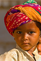 Boy wearing a turban, Jaisalmer Fort, Jaisalmer, Rajasthan, India