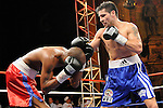 Bronx, NY, Dec. 6th, 2007: Sergio Martinez (Blue trunk) on the attack against Russell Jordan during their 10 Rounds Jr. Middleweights fight at the Utopia Paradise Theater. Martinez won by 4th round TKO. Photo by Thierry Gourjon.