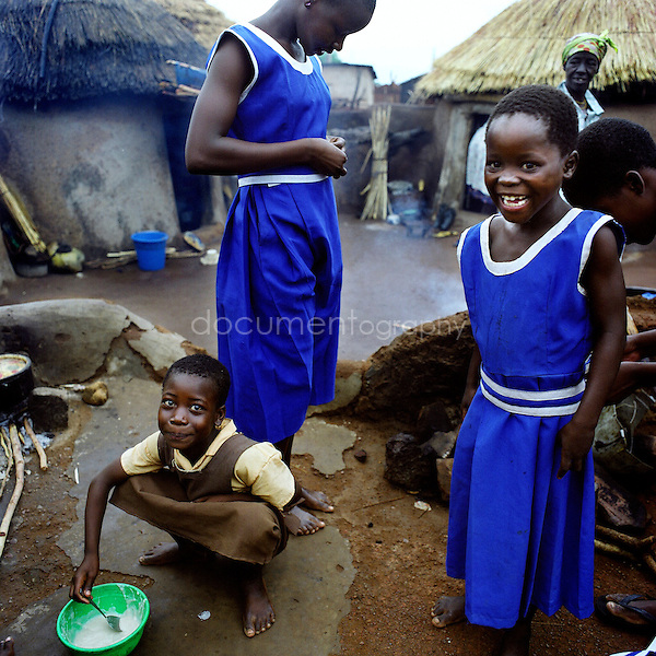 Young girls getting ready before to go to school.