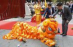 Foto: VidiPhoto<br /> <br /> RHENEN &ndash; In aanwezigheid van Chinese en Nederlandse hoogwaardigheidsbekleders, onder wie oud-premier J. P. Balkenende, hebben de Chinese ambassadeur Wu Ken en dierentuineigenaar Marcel Boekhoorn, dinsdag officieel het nieuwe reuzenpandaverblijf Pandasia (9000 vierkante meter) in Ouwehands Dierenpark in Rhenen geopend. Direct daarna mochten de twee panda&rsquo;s Xing Ya en Wu Wen hun nieuwe onderkomen verkennen. De dieren zijn op 12 april al gearriveerd maar verbleven tot dinsdag achter de schermen in quarantaine. Aan de komst van de panda&rsquo;s is zestien jaar voorbereiding aan vooraf gegaan. De bouw van Pandasia heeft 7 miljoen euro gekosten. De panda&rsquo;s blijven eigendom van de Chinese overheid. Ouwehands huurt ze voor 1 miljoen dollar per stuk per jaar. Bezoekers mogen de dieren vanaf woensdag alleen bezoeken met online tickets om parkeeroverlast te te grote drukte te voorkomen. Omdat er te weinig parkeerruimte is bij het park zijn buurgemeente niet blij met de komst van de panda&rsquo;s. Zij vrezen enorme verkeersoverlast. Foto: De Chinese ambassadeur voert een reinigingsritueel uit.