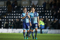 Dominic Gape of Wycombe Wanderers & Matt Bloomfield of Wycombe Wanderers after the win during the Sky Bet League 2 match between Wycombe Wanderers and Hartlepool United at Adams Park, High Wycombe, England on 26 November 2016. Photo by Andy Rowland / PRiME Media Images.