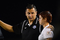 FC Kansas City head coach Vlatko Andonovski talks with midfielder Sinead Farrelly (17). FC Kansas City defeated Sky Blue FC 1-0 during a National Women's Soccer League (NWSL) match at Yurcak Field in Piscataway, NJ, on July 28, 2013.