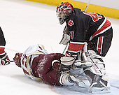 Chris Collins, Adam Geragosian - The Boston College Eagles defeated Northeastern University Huskies 5-3 on Saturday, November 19, 2005, at Kelley Rink in Conte Forum at Chestnut Hill, MA.