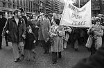 Peace Movement. Peace People. Peace March supporters march to a rally in Trafalgar Square. 1976.