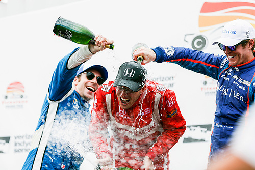 2017 Verizon IndyCar Series - Firestone Grand Prix of St. Petersburg<br /> St. Petersburg, FL USA<br /> Sunday 12 March 2017<br /> Sebastien Bourdais , Simon Pagenaud , Scott Dixon  celebrating in victory lane with champagne<br /> World Copyright:Sam Cobb/LAT Images<br /> ref: Digital Image cobb-stpete-170312-4769