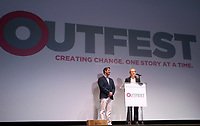 "LOS ANGELES, CA- Christopher Racster, Kerri Stoughton-Jackson, At 2017 Outfest Los Angeles LGBT Film Festival - Closing Night Gala Screening Of ""Freak Show"" at The Theatre at Ace Hotel, California on July 16, 2017. Credit: Faye Sadou/MediaPunch"