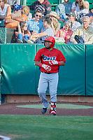 Mario Sanjur (30) of the Orem Owlz comes up to bat against the Ogden Raptors at Lindquist Field on June 22, 2019 in Ogden, Utah. The Owlz defeated the Raptors 7-4. (Stephen Smith/Four Seam Images)
