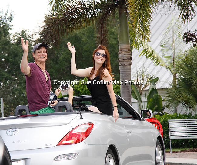 Christian LeBlanc & Melissa Archer -  Actors from Y&R, Days and General Hospital donated their time to Southwest Florida 16th Annual SOAPFEST and during the weekend took a break to chill on one of the boats to see dolphins and to swim off Marco Island, Florida on May 23, 2015 - a celebrity weekend May 22 thru May 25, 2015 benefitting the Arts for Kids and children with special needs and ITC - Island Theatre Co.  (Photos by Sue Coflin/Max Photos)