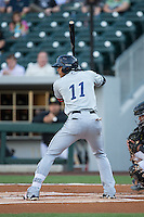 Erik Gonzalez (11) of the Columbus Clippers at bat against the Charlotte Knights at BB&T BallPark on May 3, 2016 in Charlotte, North Carolina.  The Clippers defeated the Knights 8-3.  (Brian Westerholt/Four Seam Images)