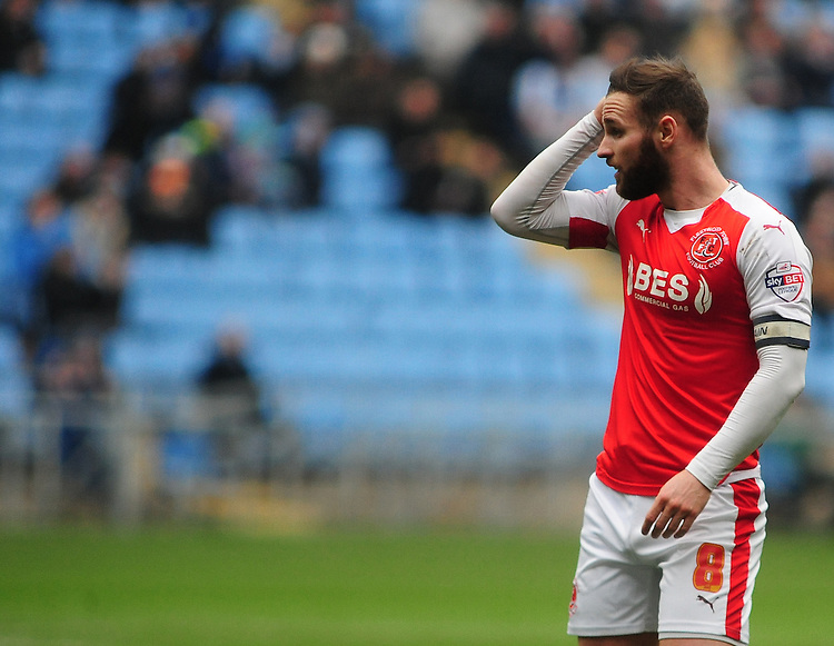 Fleetwood Town's Jimmy Ryan<br /> <br /> Photographer Andrew Vaughan/CameraSport<br /> <br /> Football - The Football League Sky Bet League One - Coventry City v Fleetwood Town - Saturday 27th February 2016 - Ricoh Stadium - Coventry   <br /> <br /> &copy; CameraSport - 43 Linden Ave. Countesthorpe. Leicester. England. LE8 5PG - Tel: +44 (0) 116 277 4147 - admin@camerasport.com - www.camerasport.com