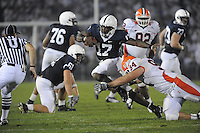 27 September 2008:  Penn State QB Daryll Clark (17) cuts away from Illinois's David Lindquist (94) during a run.  Clark passed for 158 yards and 2 TDs and rushed for 50 yards and another TD..The Penn State Nittany Lions defeated the Illinois Fighting Illini 38-24 September 27, 2008 at Beaver Stadium in State College, PA..