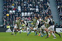6th January 2020; Allianz Stadium, Turin, Italy; Serie A Football, Juventus versus Cagliari; Cristiano Ronaldo of Juventus has good scoring chance with a header on goal - Editorial Use