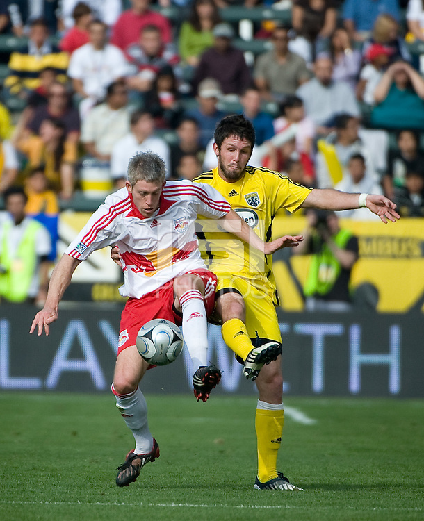 John Wolyneic and Danny O'Rourke battle during MLS Cup 2008. Columbus Crew defeated the New York Red Bulls, 3-1, Sunday, November 23, 2008. Photo by John Todd/isiphotos.com