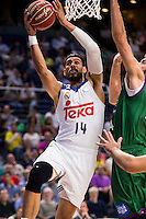 Real Madrid's player Gustavo Ayon and Unicaja Malaga's player Dejan Musli during match of Liga Endesa at Barclaycard Center in Madrid. September 30, Spain. 2016. (ALTERPHOTOS/BorjaB.Hojas) /NORTEPHOTO