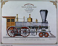Technology:  American Locomotive, 1856. ( A builder's lithograph) Photo '74.