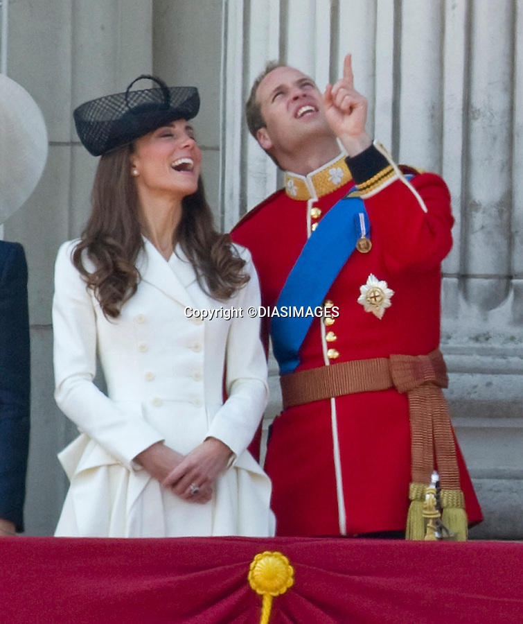 """KATE ATTENDS FIRST TROOPING COLOUR, WHILE PRINCE WILLIAM RIDES.Prince William who is the Colonel of the Irish Guards was wearing their colours in his bearskin. The Trooping of Colour marks the official birthday of The Queen, London_11/06/2011.Mandatory Credit Photo: ©FRANCIS DIAS-DIASIMAGES..**ALL FEES PAYABLE TO: """"NEWSPIX INTERNATIONAL""""**..IMMEDIATE CONFIRMATION OF USAGE REQUIRED:.DiasImages, 31a Chinnery Hill, Bishop's Stortford, ENGLAND CM23 3PS.Tel:+441279 324672  ; Fax: +441279656877.Mobile:  07775681153.e-mail: info@newspixinternational.co.uk"""