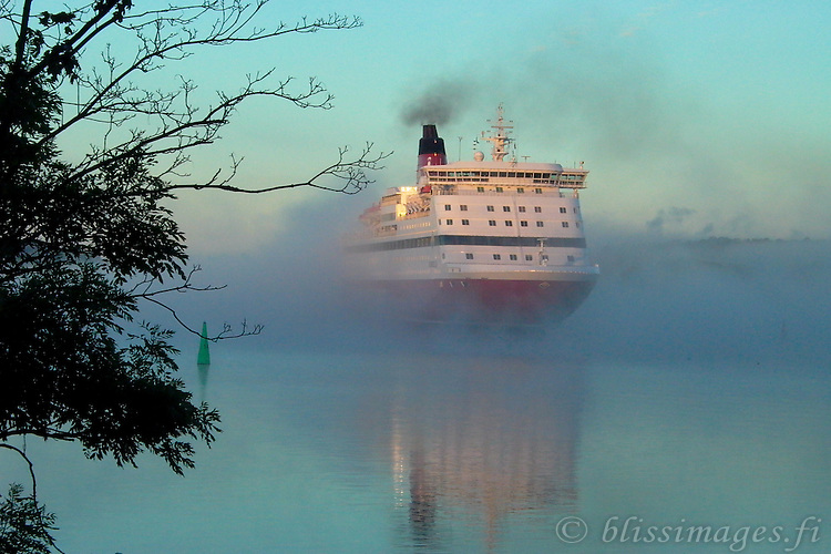Viking Line appears through the mist at sunrise.