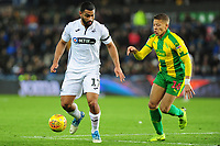 Cameron Carter-Vickers of Swansea City battles with Dwight Gayle of West Bromwich Albion during the Sky Bet Championship match between Swansea City and West Bromwich Albion at the Liberty Stadium in Swansea, Wales, UK. Wednesday 28 November 2018