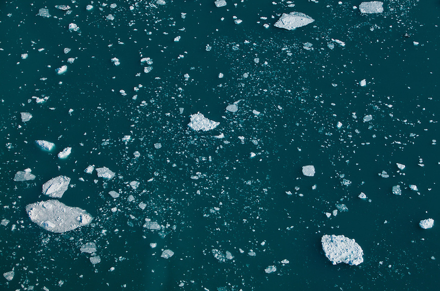 Ice bergs at sea, viewed from a helicopter, West Greenland, August 2011. Photo: Ed Giles.