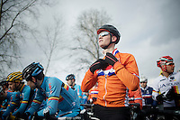 Mathieu Van der Poel (NLD) on the start line (next to Wout Van Aert)<br /> <br /> Elite Men's race<br /> <br /> 2015 UCI World Championships Cyclocross <br /> Tabor, Czech Republic