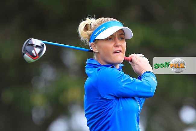 Charley Hull (EUR) on the 2nd tee during Day 3 Singles at the Solheim Cup 2019, Gleneagles Golf CLub, Auchterarder, Perthshire, Scotland. 15/09/2019.<br /> Picture Thos Caffrey / Golffile.ie<br /> <br /> All photo usage must carry mandatory copyright credit (© Golffile   Thos Caffrey)