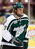 Jay Sprague (Michigan State - Georgetown, ON) warms up. The University of Minnesota Golden Gophers defeated the Michigan State University Spartans 5-4 on Friday, November 24, 2006 at Mariucci Arena in Minneapolis, Minnesota, as part of the College Hockey Showcase.