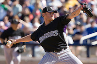 March 13, 2010 - Colorado Rockies' Shane Lindsay #40 during a spring training game against the Milwaukee Brewers at Maryvale Baseball Park in Phoenix, Arizona.