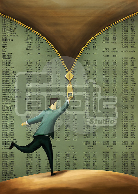 Illustrative image of businessman unzipping paper with stock market information